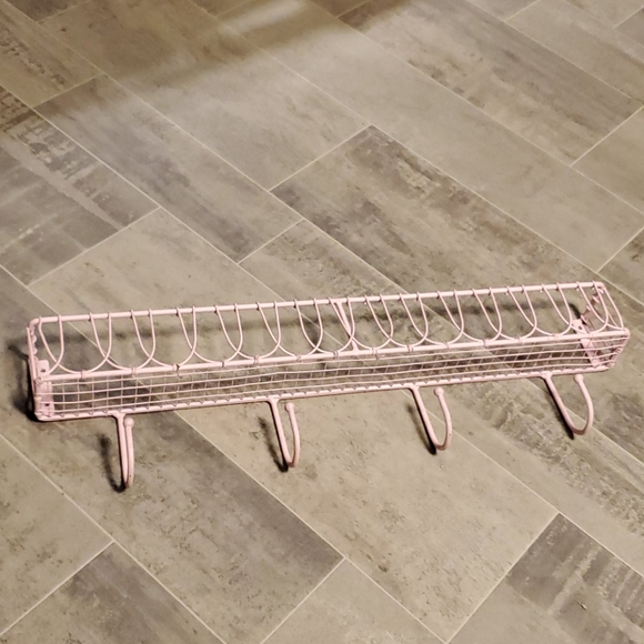 None Other - Cotton Candy Pink Metal Hook Wall Shelf